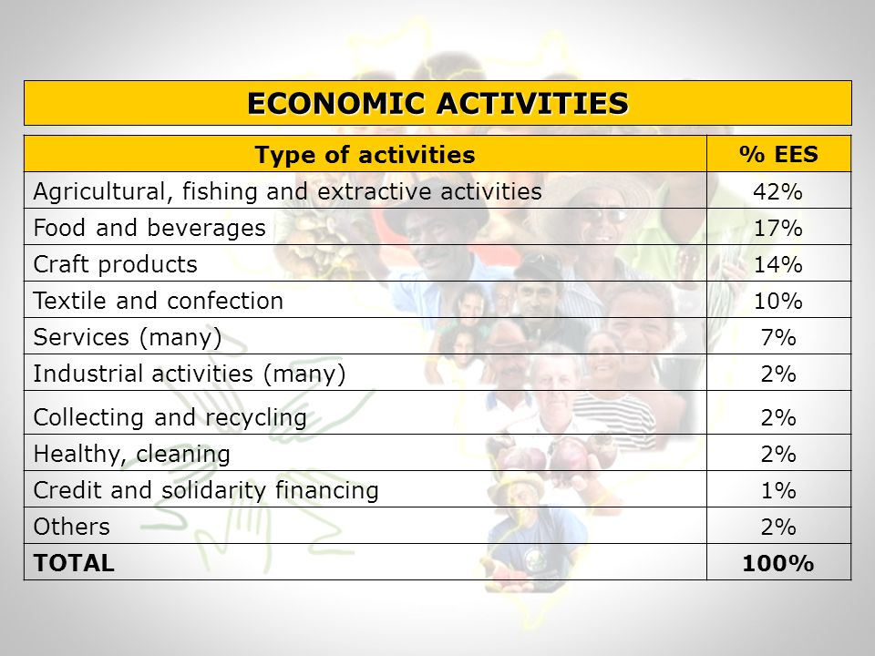 ECONOMIC ACTIVITIES Type of activities % EES Agricultural, fishing and extractive activities 42% Food and beverages 17% Craft products 14% Textile and confection 10% Services (many) 7% Industrial activities (many) 2% Collecting and recycling 2% Healthy, cleaning 2% Credit and solidarity financing 1% Others 2% TOTAL 100%