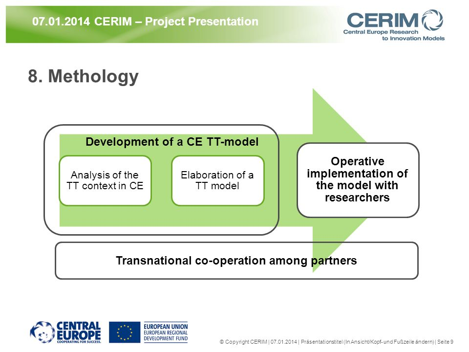 8. Methology Analysis of the TT context in CE Elaboration of a TT model Operative implementation of the model with researchers © Copyright CERIM | 07.