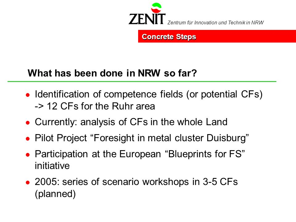 Zentrum für Innovation und Technik in NRW What has been done in NRW so far? Concrete Steps l Identification of competence fields (or potential CFs) ->
