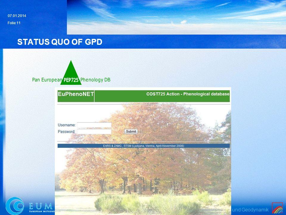 Zentralanstalt für Meteorologie und Geodynamik 07.01.2014 Folie 11 STATUS QUO OF GPD