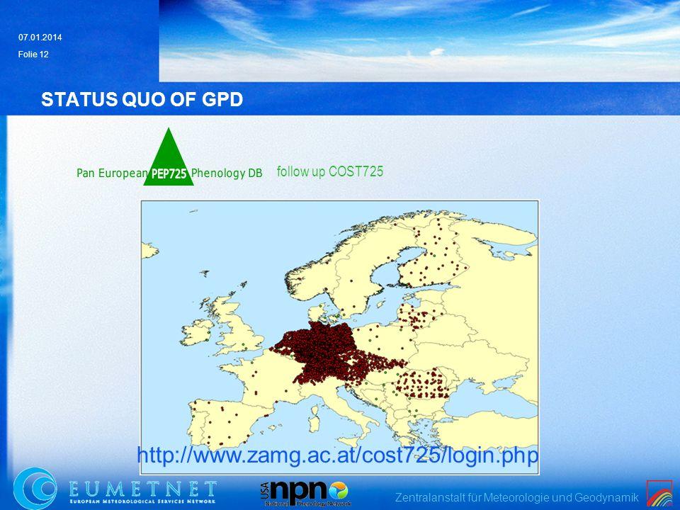 Zentralanstalt für Meteorologie und Geodynamik 07.01.2014 Folie 12 STATUS QUO OF GPD http://www.zamg.ac.at/cost725/login.php follow up COST725