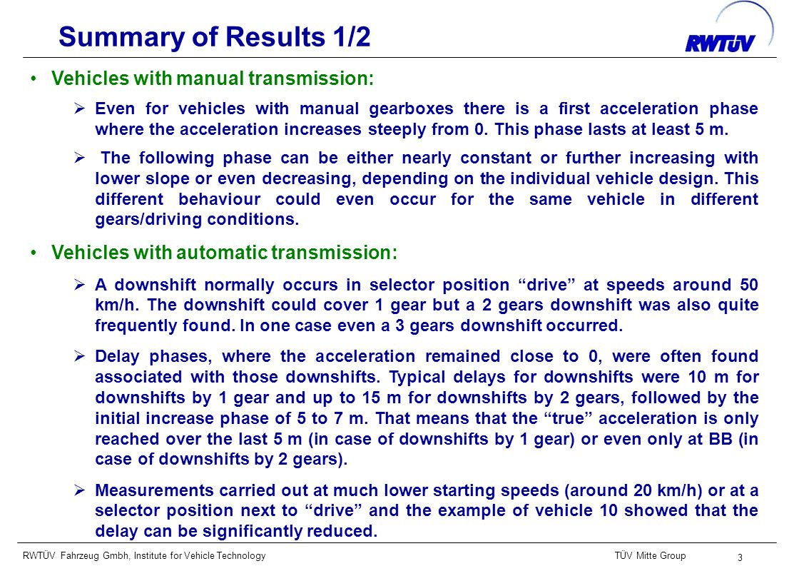 RWTÜV Fahrzeug Gmbh, Institute for Vehicle TechnologyTÜV Mitte Group 3 Summary of Results 1/2 Vehicles with manual transmission: Even for vehicles wit