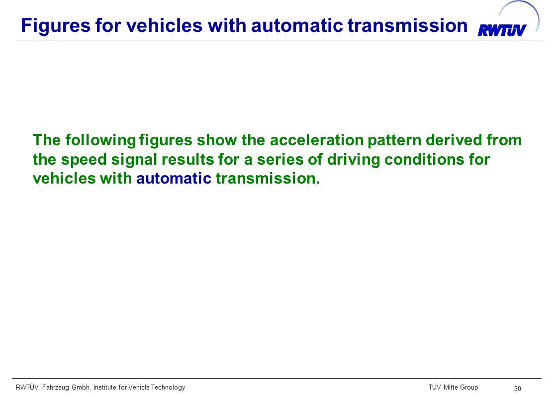 RWTÜV Fahrzeug Gmbh, Institute for Vehicle TechnologyTÜV Mitte Group 30 Figures for vehicles with automatic transmission The following figures show the acceleration pattern derived from the speed signal results for a series of driving conditions for vehicles with automatic transmission.