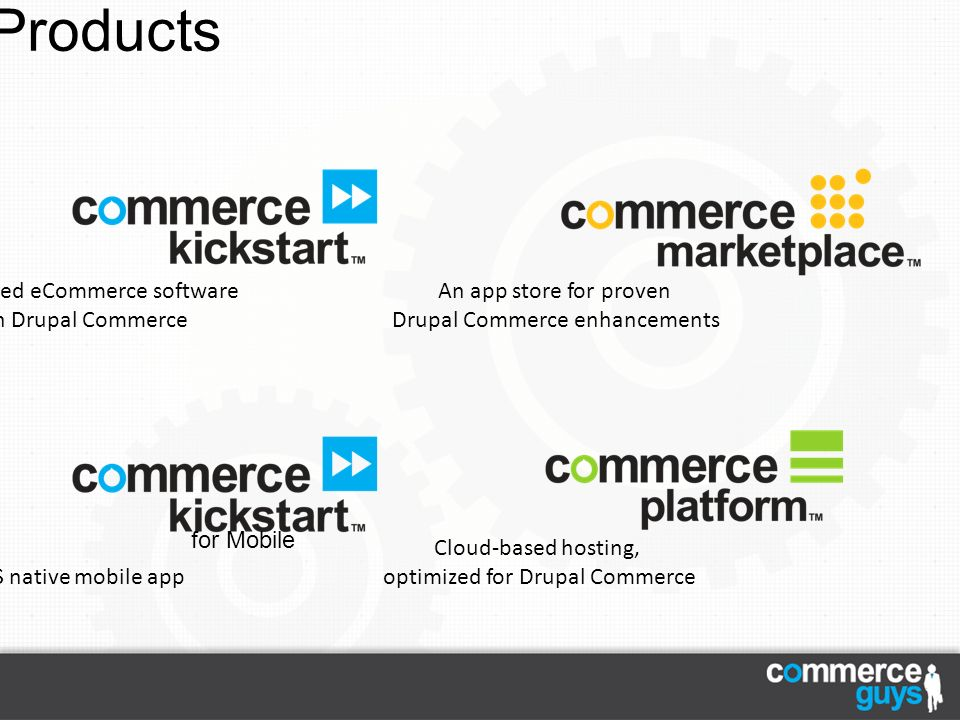 Our Products Cloud-based hosting, optimized for Drupal Commerce An app store for proven Drupal Commerce enhancements Pre-configured eCommerce software