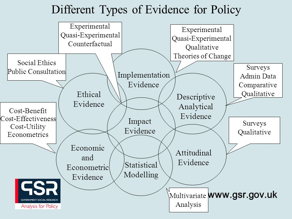 www.gsr.gov.uk Different Types of Evidence for Policy Impact Evidence Implementation Evidence Descriptive Analytical Evidence Economic and Econometric