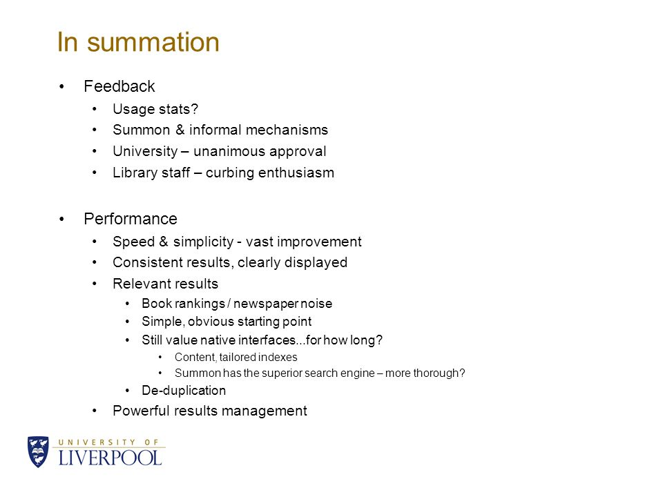 In summation Feedback Usage stats.