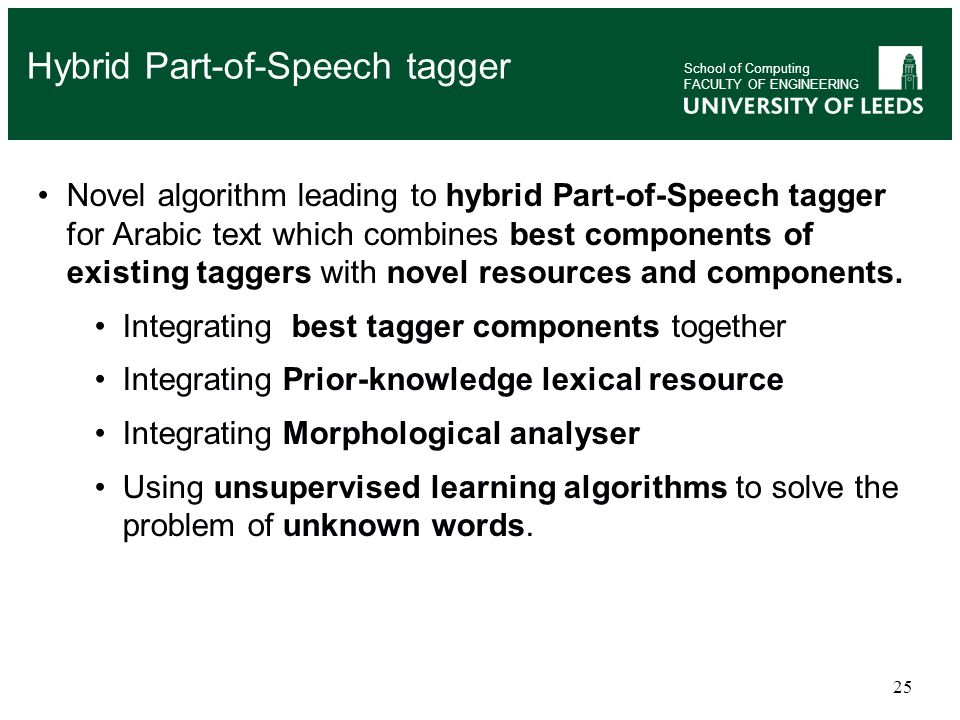 25 Novel algorithm leading to hybrid Part-of-Speech tagger for Arabic text which combines best components of existing taggers with novel resources and