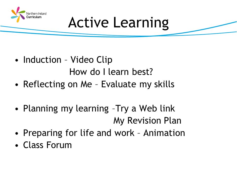 Active Learning Induction – Video Clip How do I learn best? Reflecting on Me – Evaluate my skills Planning my learning –Try a Web link My Revision Pla