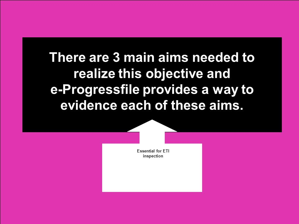 There are 3 main aims needed to realize this objective and e-Progressfile provides a way to evidence each of these aims. Essential for ETI inspection