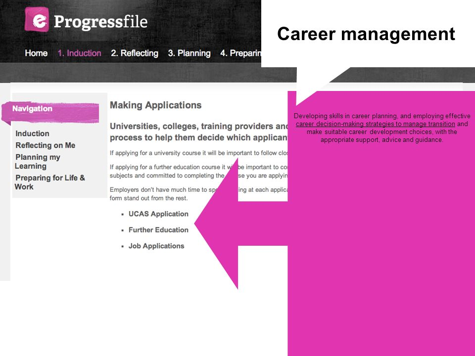 Developing skills in career planning, and employing effective career decision-making strategies to manage transition and make suitable career developm
