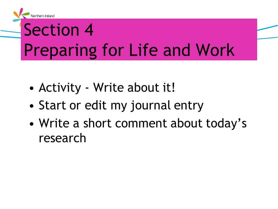 Section 4 Preparing for Life and Work Activity - Write about it! Start or edit my journal entry Write a short comment about todays research