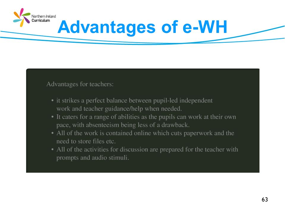 Advantages of e-WH 63