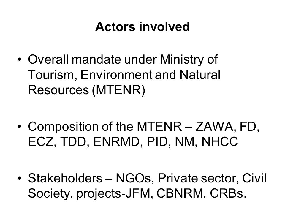 Actors involved Overall mandate under Ministry of Tourism, Environment and Natural Resources (MTENR) Composition of the MTENR – ZAWA, FD, ECZ, TDD, ENRMD, PID, NM, NHCC Stakeholders – NGOs, Private sector, Civil Society, projects-JFM, CBNRM, CRBs.