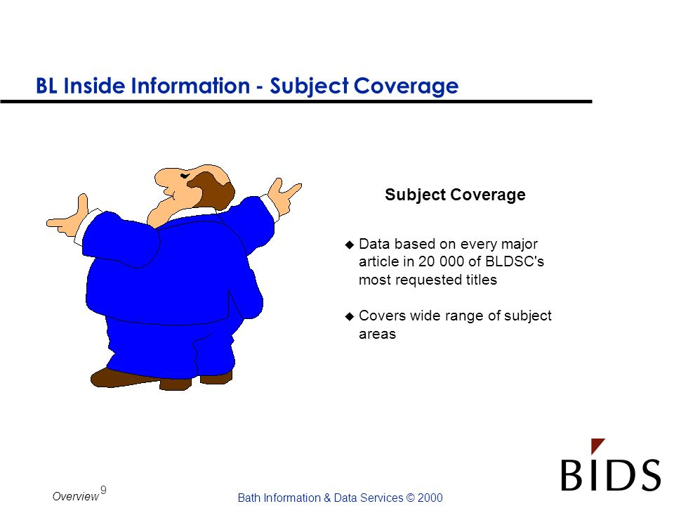 9 Bath Information & Data Services © 2000 Overview BL Inside Information - Subject Coverage u Data based on every major article in 20 000 of BLDSC's m