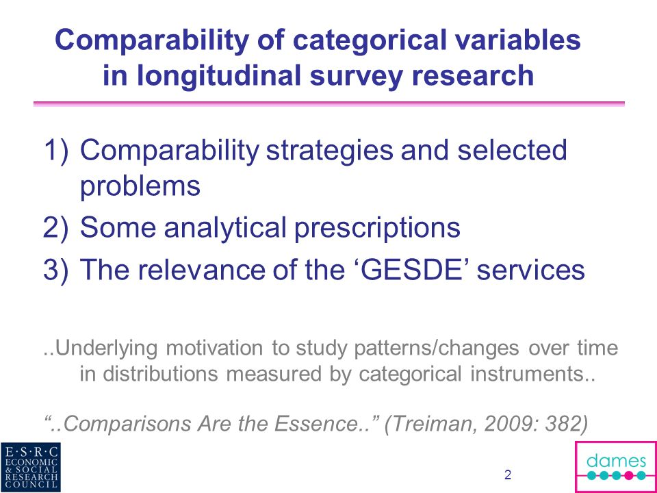 Comparability of categorical variables in longitudinal survey research 1)Comparability strategies and selected problems 2)Some analytical prescription
