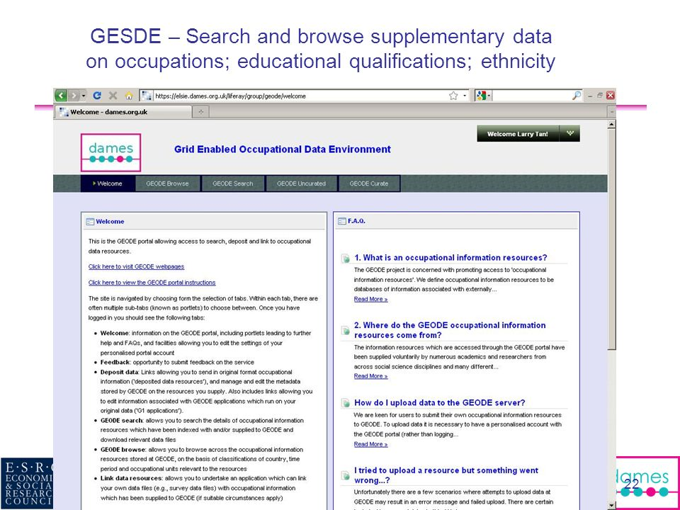 GESDE – Search and browse supplementary data on occupations; educational qualifications; ethnicity 17/MAR/2010 DIR workshop: Handling Social Science D