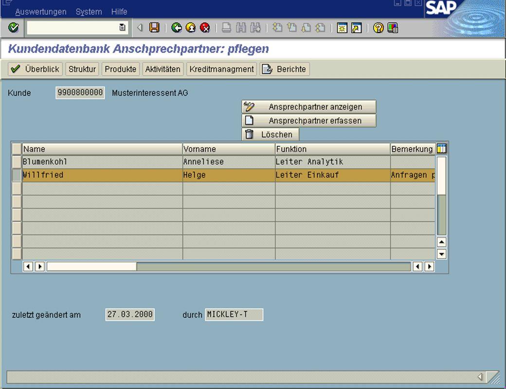 Page 9Date 2001/02/15Thomas MickleyCostumer Database System jw Ansprechpartner ändern