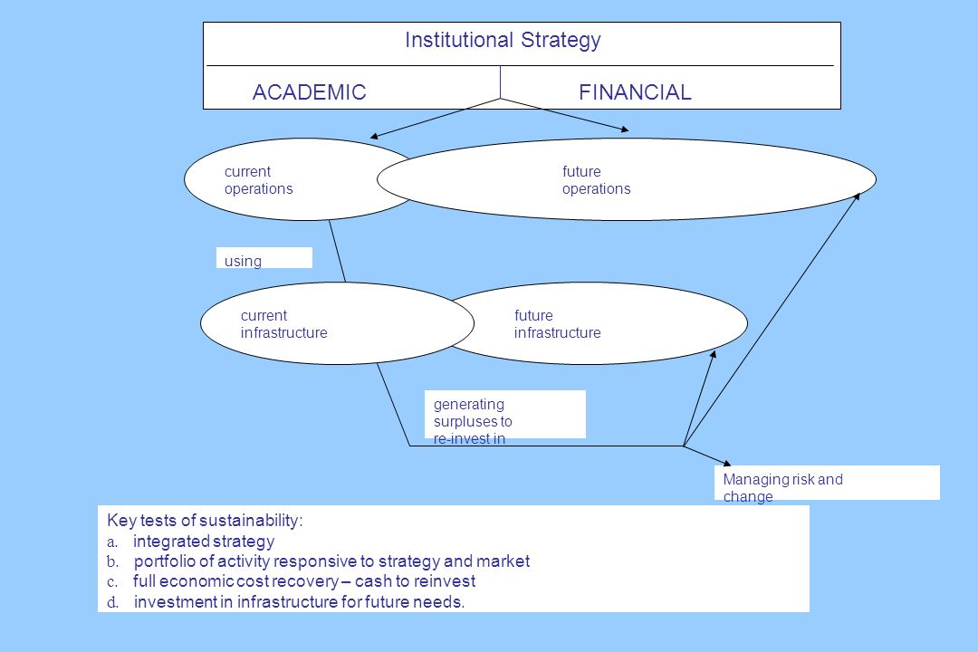 Institutional Strategy ACADEMIC FINANCIAL Key tests of sustainability: a.