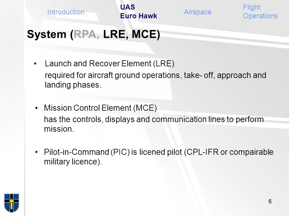 System (RPA, LRE, MCE) Launch and Recover Element (LRE) required for aircraft ground operations, take- off, approach and landing phases. Mission Contr