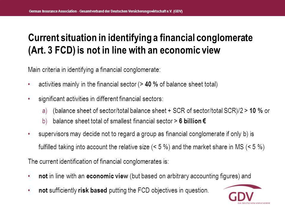 German Insurance Association - Gesamtverband der Deutschen Versicherungswirtschaft e.V. (GDV) Current situation in identifying a financial conglomerat