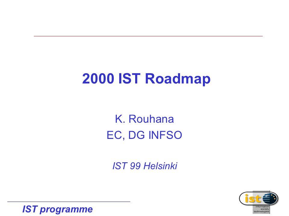 IST programme 2000 IST Roadmap K. Rouhana EC, DG INFSO IST 99 Helsinki