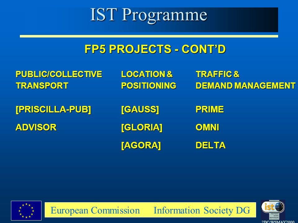 2DC/WSMAY2000 European Commission Information Society DG FP5 PROJECTS - CONTD PUBLIC/COLLECTIVELOCATION &TRAFFIC & TRANSPORTPOSITIONINGDEMAND MANAGEMENT [PRISCILLA-PUB][GAUSS]PRIME ADVISOR [GLORIA]OMNI [AGORA]DELTA IST Programme
