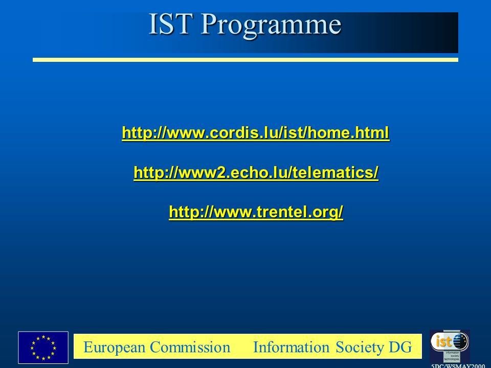 5DC/WSMAY2000 European Commission Information Society DG http://www.cordis.lu/ist/home.htmlhttp://www2.echo.lu/telematics/http://www.trentel.org/ IST Programme