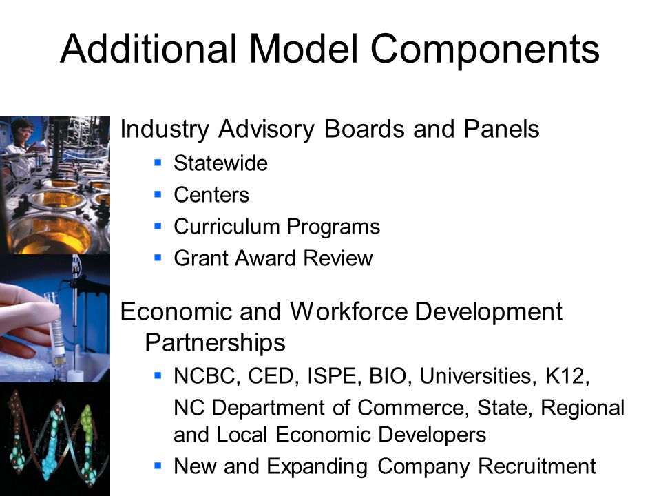Additional Model Components Industry Advisory Boards and Panels Statewide Centers Curriculum Programs Grant Award Review Economic and Workforce Develo