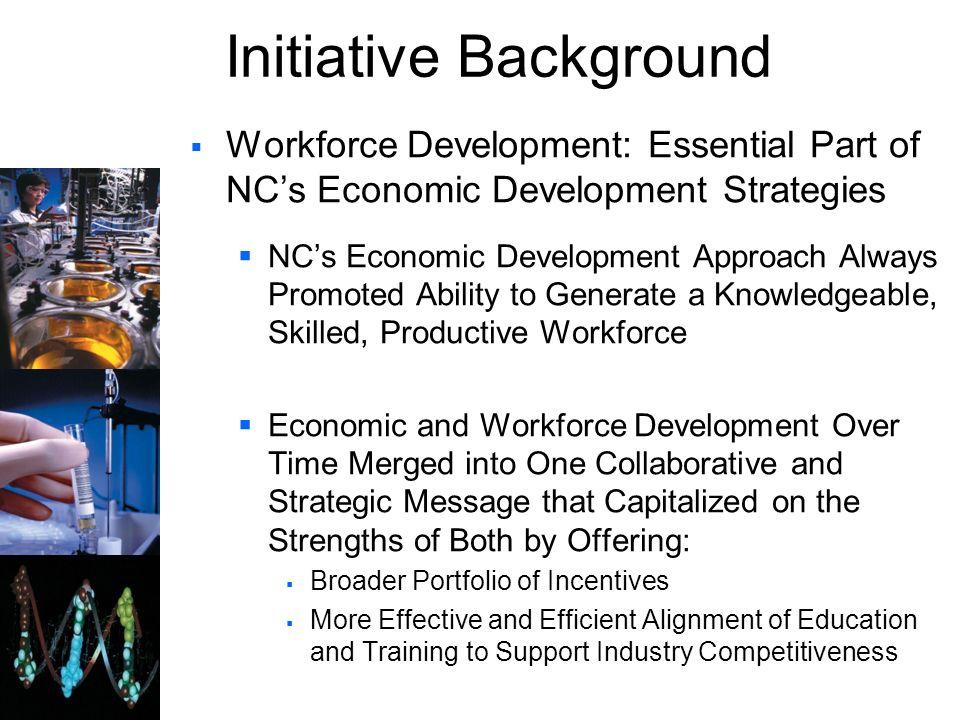 Initiative Background Workforce Development: Essential Part of NCs Economic Development Strategies NCs Economic Development Approach Always Promoted A