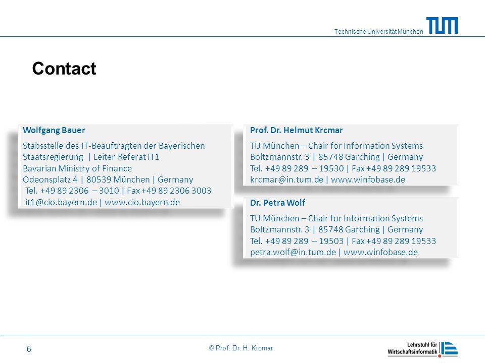 Technische Universität München © Prof. Dr. H. Krcmar 6 Contact Dr. Petra Wolf TU München – Chair for Information Systems Boltzmannstr. 3 | 85748 Garch