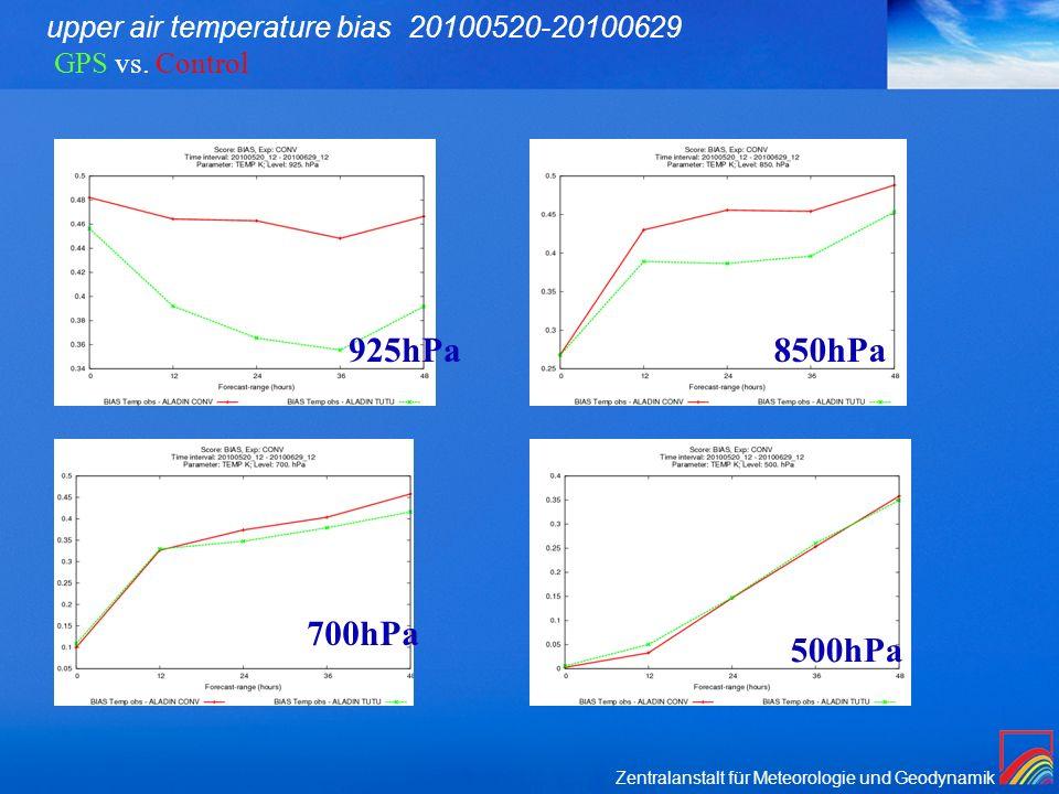 Zentralanstalt für Meteorologie und Geodynamik upper air temperature bias 20100520-20100629 GPS vs.