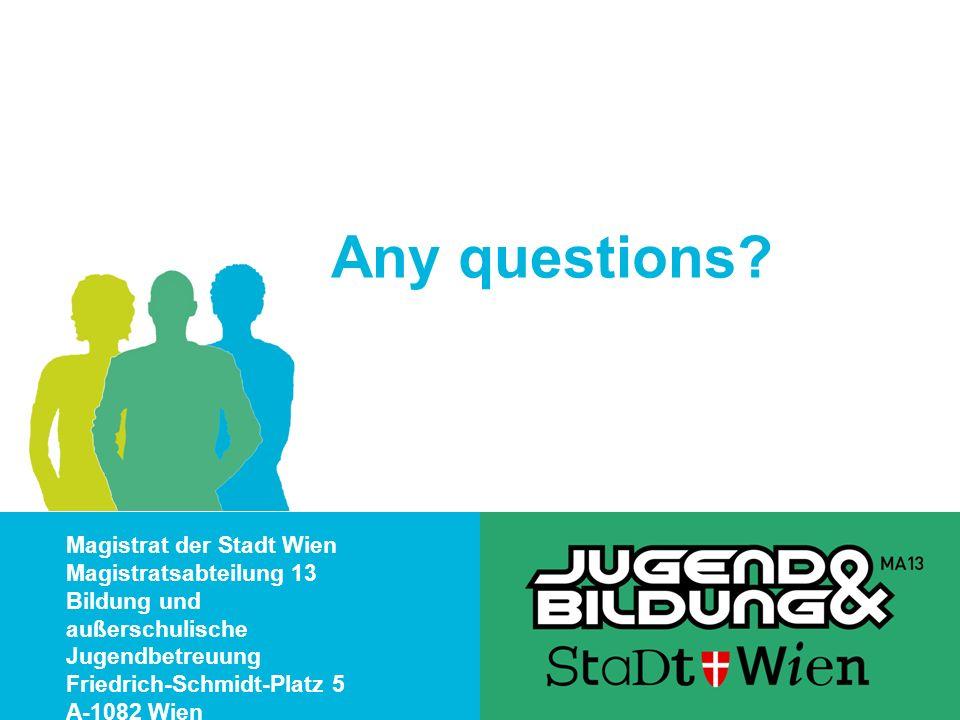 Magistrat der Stadt Wien Magistratsabteilung 13 Bildung und außerschulische Jugendbetreuung Friedrich-Schmidt-Platz 5 A-1082 Wien Any questions