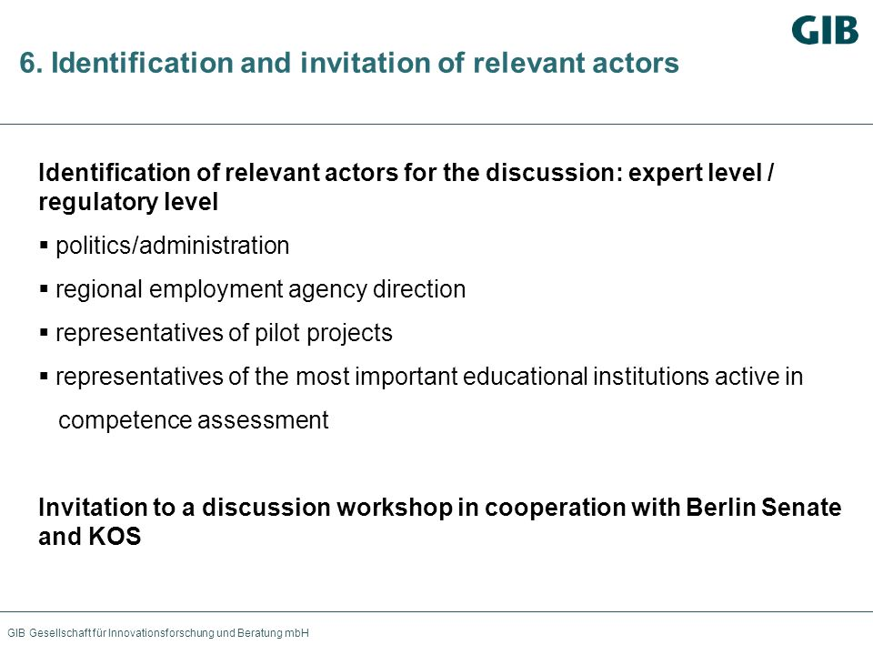 GIB Gesellschaft für Innovationsforschung und Beratung mbH 6. Identification and invitation of relevant actors Identification of relevant actors for t