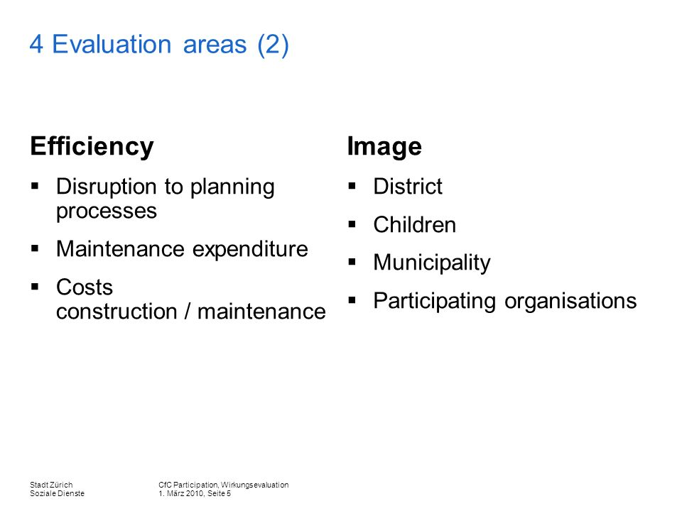 CfC Participation, Wirkungsevaluation 1. März 2010, Seite 5 Stadt Zürich Soziale Dienste 4 Evaluation areas (2) Efficiency Disruption to planning proc