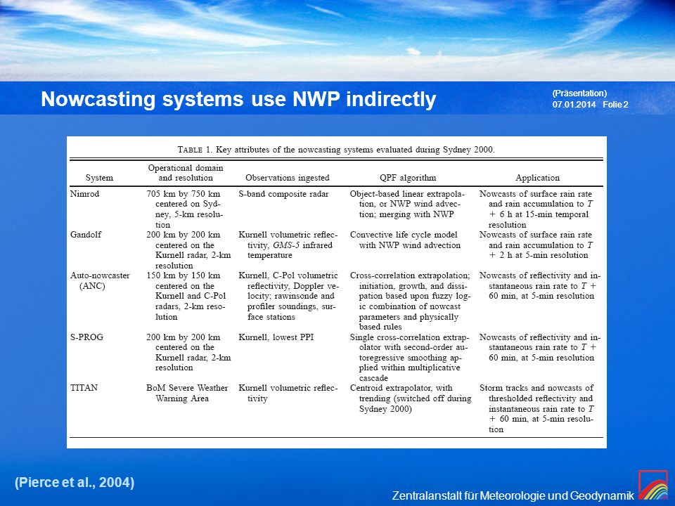 Zentralanstalt für Meteorologie und Geodynamik 07.01.2014 (Präsentation) Folie 3 Nowcasting systems use NWP indirectly (Wilson et al., 2010)