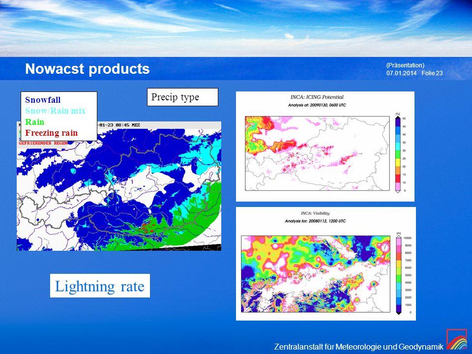 Zentralanstalt für Meteorologie und Geodynamik 07.01.2014 (Präsentation) Folie 23 Nowacst products Precip type Snowfall Snow/Rain mix Rain Freezing ra