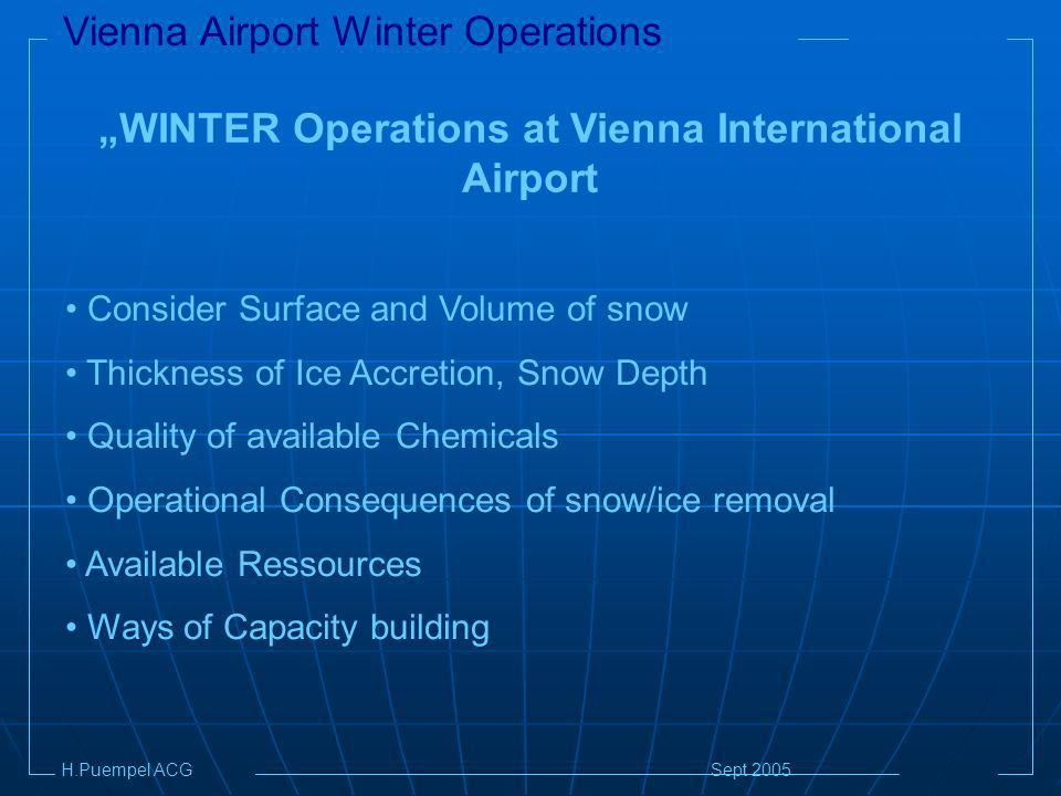 Vienna Airport Winter Operations H.Puempel ACG Sept 2005 WINTER Operations at Vienna International Airport Consider Surface and Volume of snow Thickness of Ice Accretion, Snow Depth Quality of available Chemicals Operational Consequences of snow/ice removal Available Ressources Ways of Capacity building