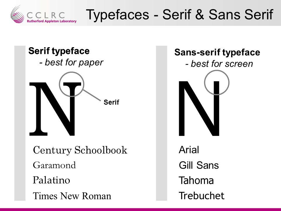 N N Serif typeface Sans-serif typeface - best for screen Century Schoolbook Garamond Palatino Times New Roman Arial Gill Sans Tahoma Trebuchet Serif typeface - best for paper Serif Typefaces - Serif & Sans Serif