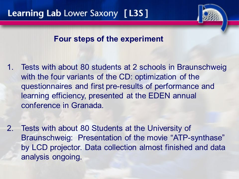 Four steps of the experiment 1.Tests with about 80 students at 2 schools in Braunschweig with the four variants of the CD: optimization of the questionnaires and first pre-results of performance and learning efficiency, presented at the EDEN annual conference in Granada.