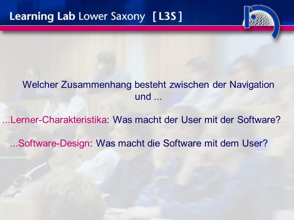 Welcher Zusammenhang besteht zwischen der Navigation und......Lerner-Charakteristika: Was macht der User mit der Software ...Software-Design: Was macht die Software mit dem User