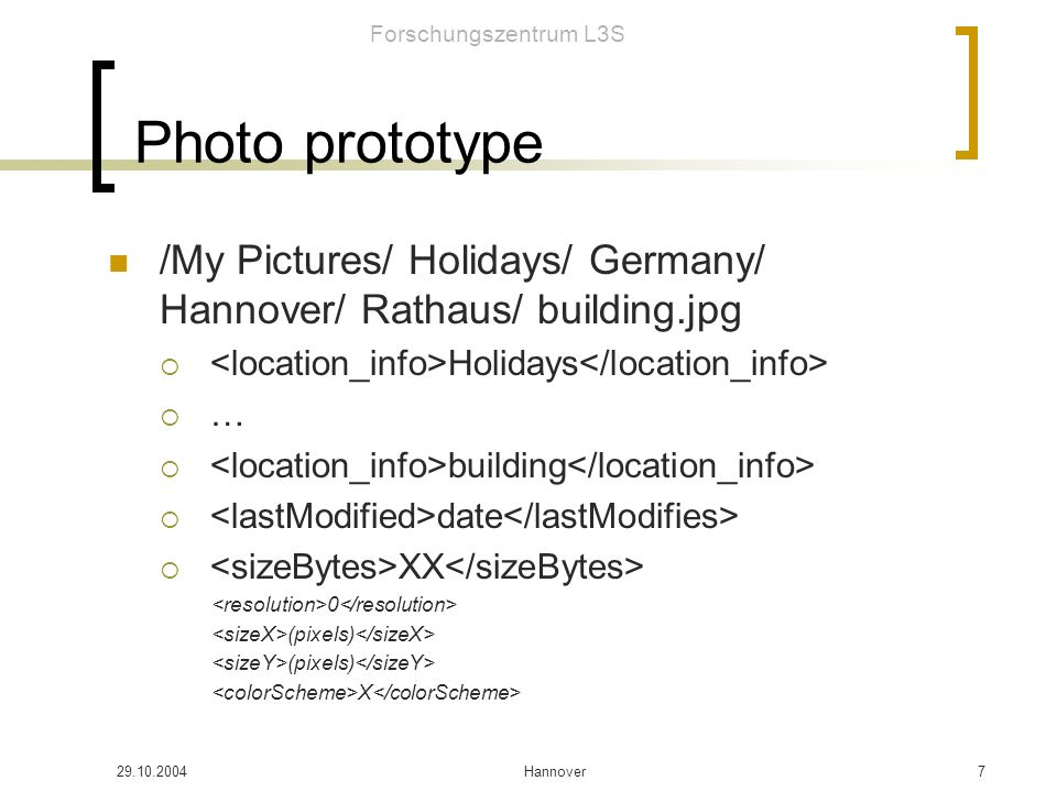 Forschungszentrum L3S 29.10.2004Hannover8 Enriching Data with Wordnet Holidays/ Germany/ Hannover RDF Add Wordnet extensions: Synonims Holonyms (Germany is a part of …) Meronyms (Germany has part …) Hypernims (Holiday is a kind of …) Hyponims (… is a kind of Holiday) Troponyms