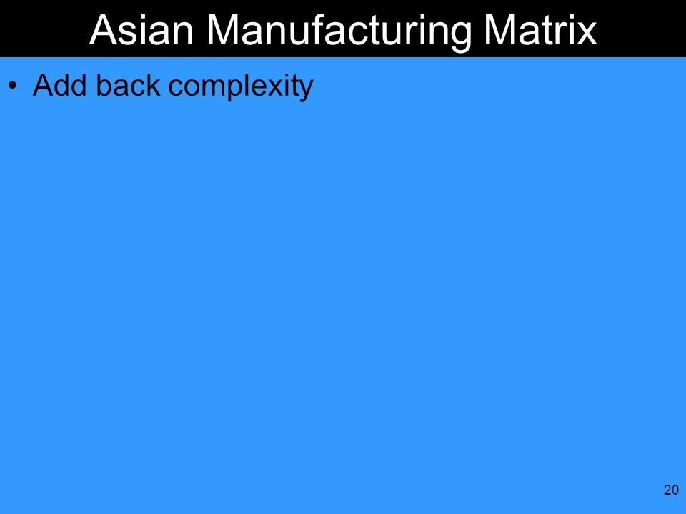 20 Asian Manufacturing Matrix Add back complexity
