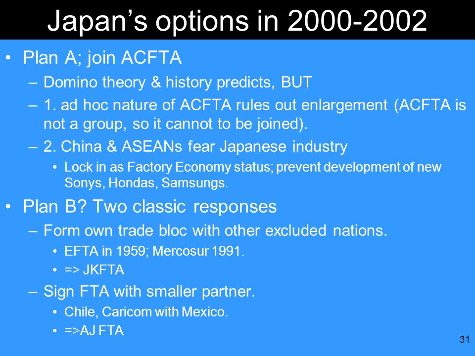 31 Japans options in 2000-2002 Plan A; join ACFTA –Domino theory & history predicts, BUT –1. ad hoc nature of ACFTA rules out enlargement (ACFTA is no