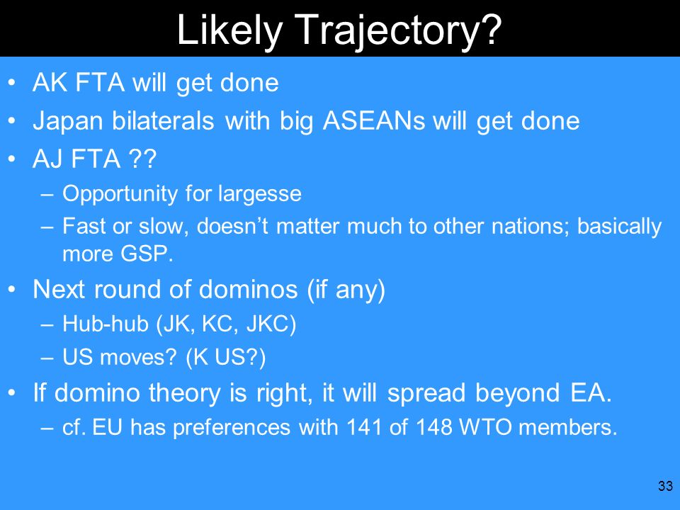 33 Likely Trajectory? AK FTA will get done Japan bilaterals with big ASEANs will get done AJ FTA ?? –Opportunity for largesse –Fast or slow, doesnt ma