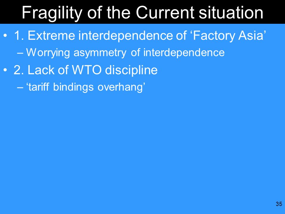 35 Fragility of the Current situation 1. Extreme interdependence of Factory Asia –Worrying asymmetry of interdependence 2. Lack of WTO discipline –tar