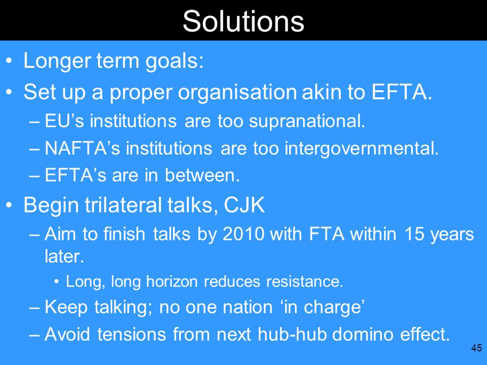 45 Solutions Longer term goals: Set up a proper organisation akin to EFTA. –EUs institutions are too supranational. –NAFTAs institutions are too inter