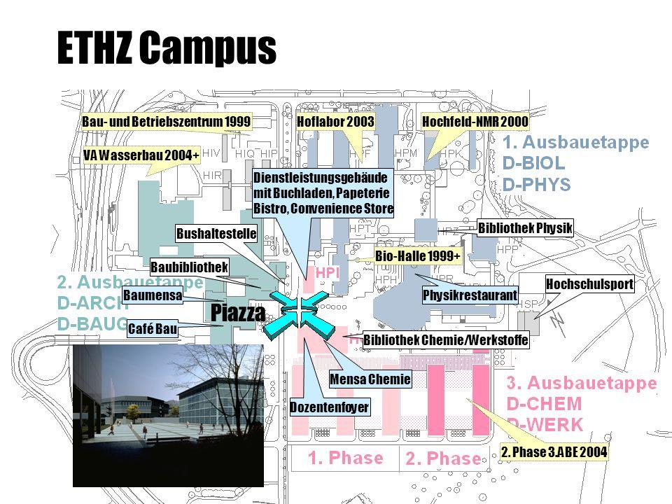 Piazza Bau- und Betriebszentrum 1999 Bio-Halle 1999+ Hochfeld-NMR 2000Hoflabor 2003 VA Wasserbau 2004+ 2. Phase 3.ABE 2004 Mensa Chemie Physikrestaura