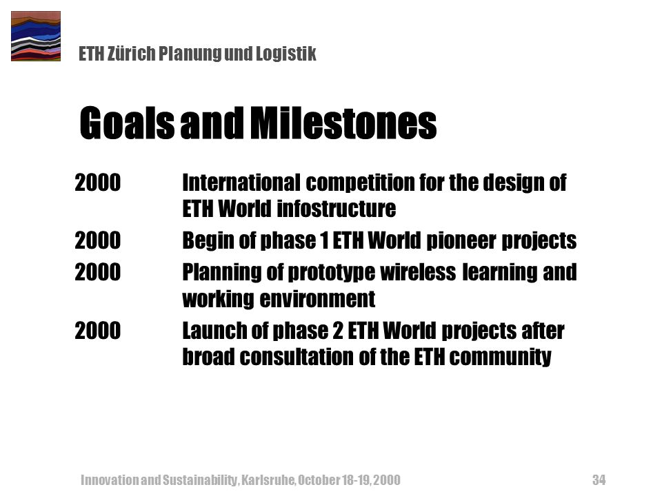 ETH Zürich Planung und Logistik Innovation and Sustainability, Karlsruhe, October 18-19, 200034 Goals and Milestones 2000International competition for