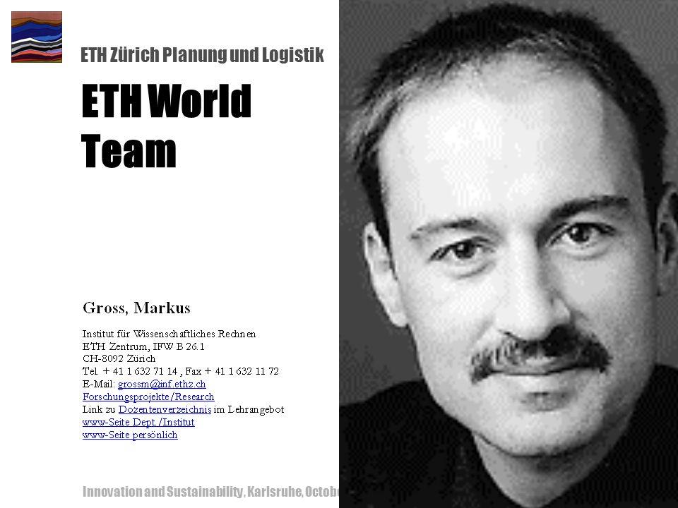 ETH Zürich Planung und Logistik Innovation and Sustainability, Karlsruhe, October 18-19, 200052 ETH World Team