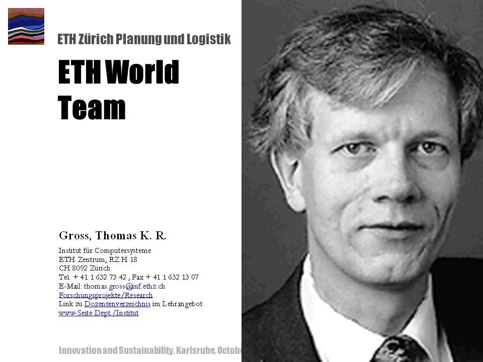 ETH Zürich Planung und Logistik Innovation and Sustainability, Karlsruhe, October 18-19, 200053 ETH World Team
